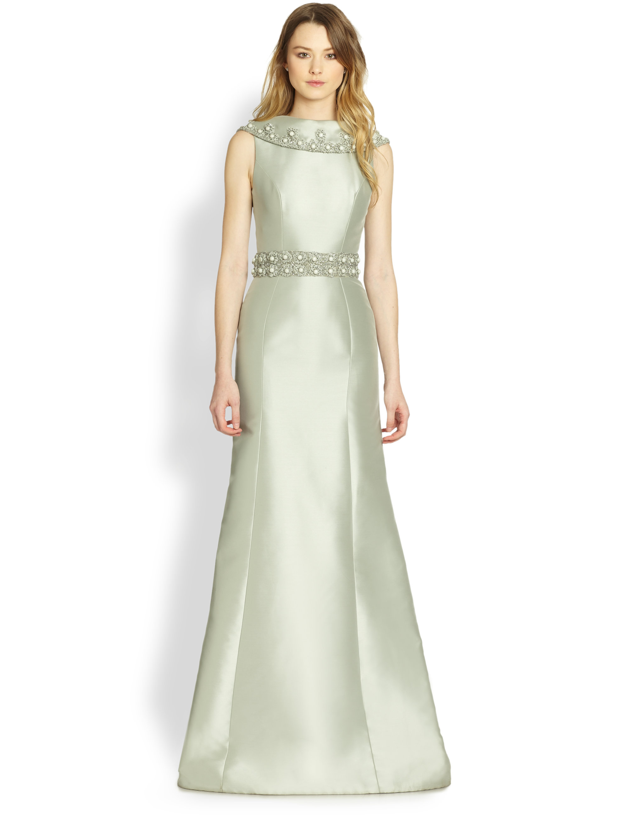 Lyst Theia Folded Collar Satin Gown In Green