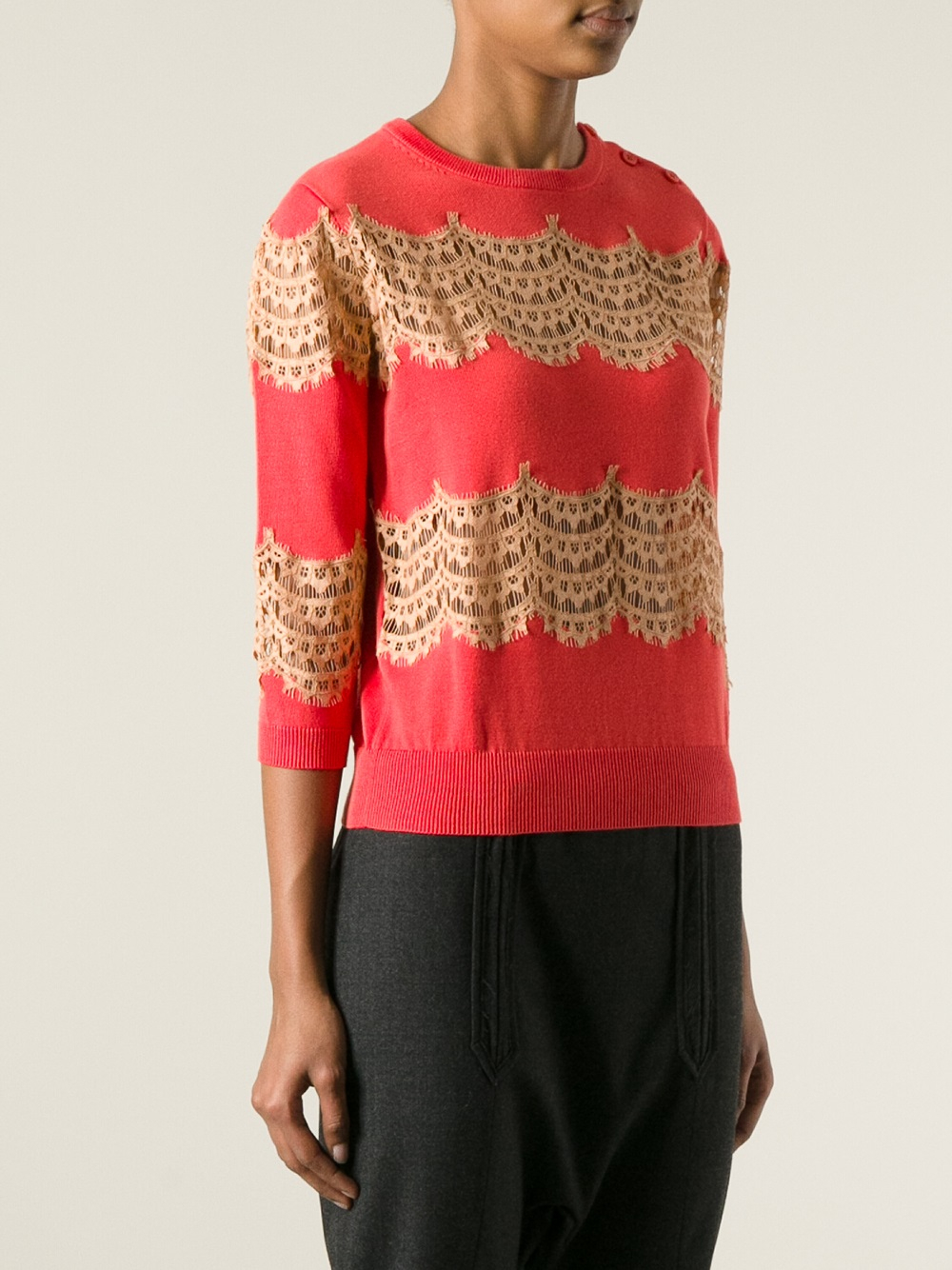 Carven Lace Panel Sweater in Pink | Lyst