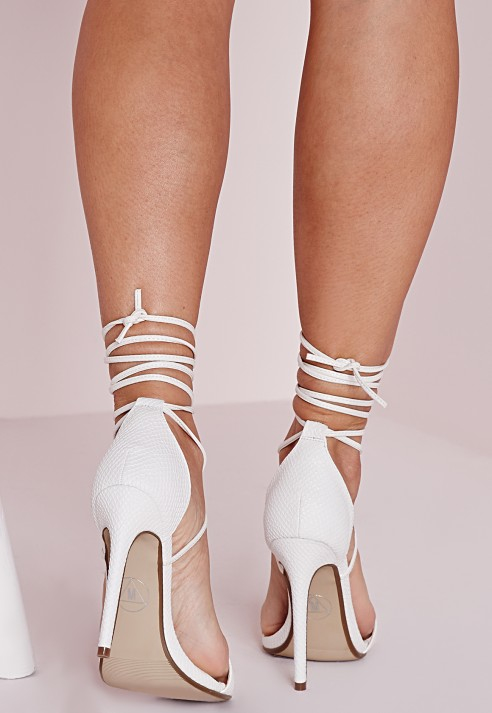 f5da2c6b23 Lyst - Missguided Lace Up Barely There Heeled Sandals White Croc in ...