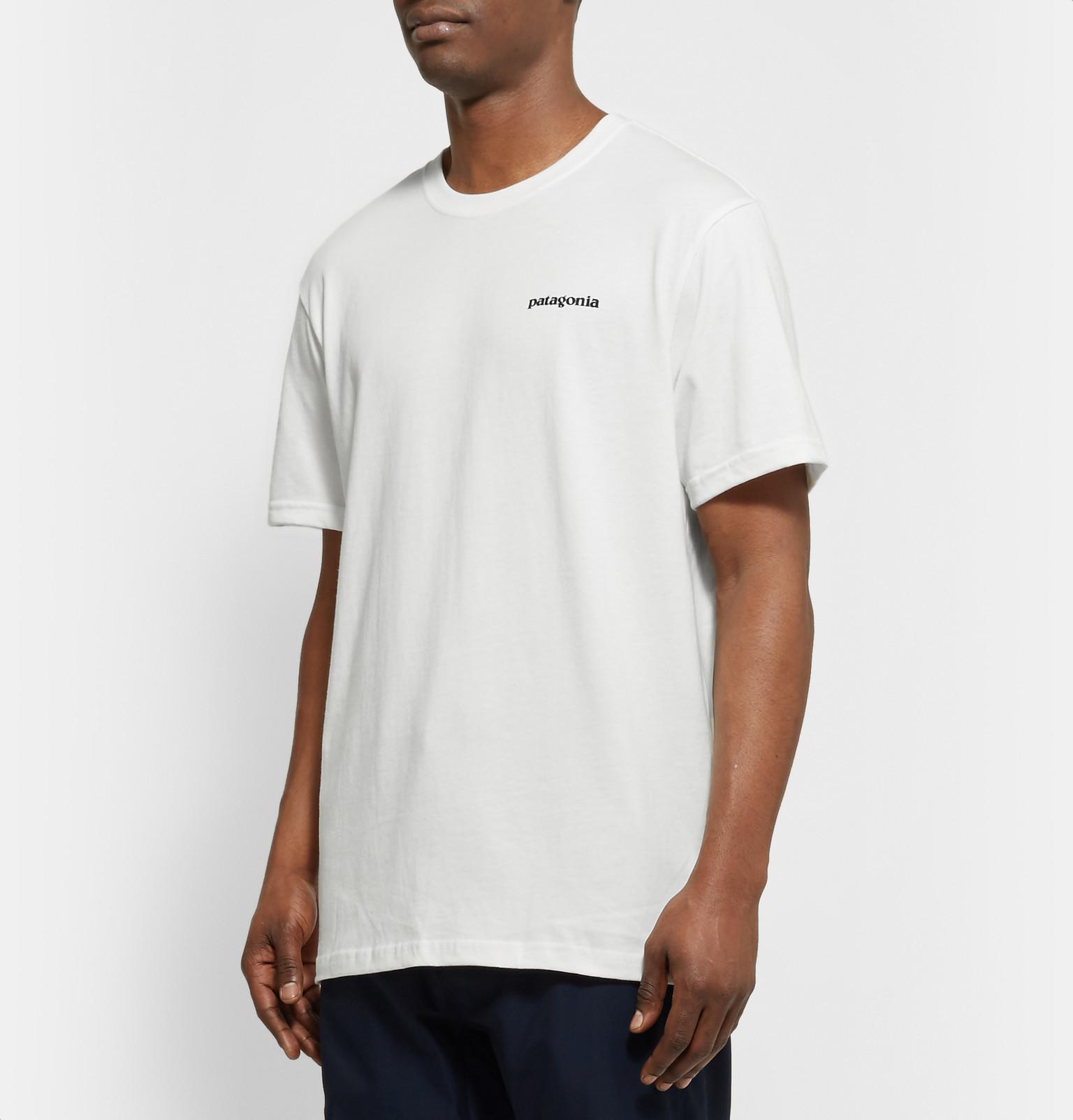 Patagonia p 6 logo printed organic cotton jersey t shirt for Organic cotton t shirt printing
