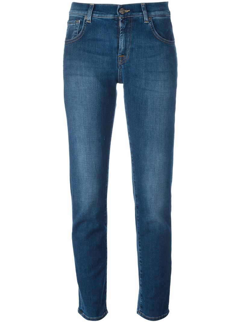 7 for all mankind straight leg jeans in blue lyst. Black Bedroom Furniture Sets. Home Design Ideas