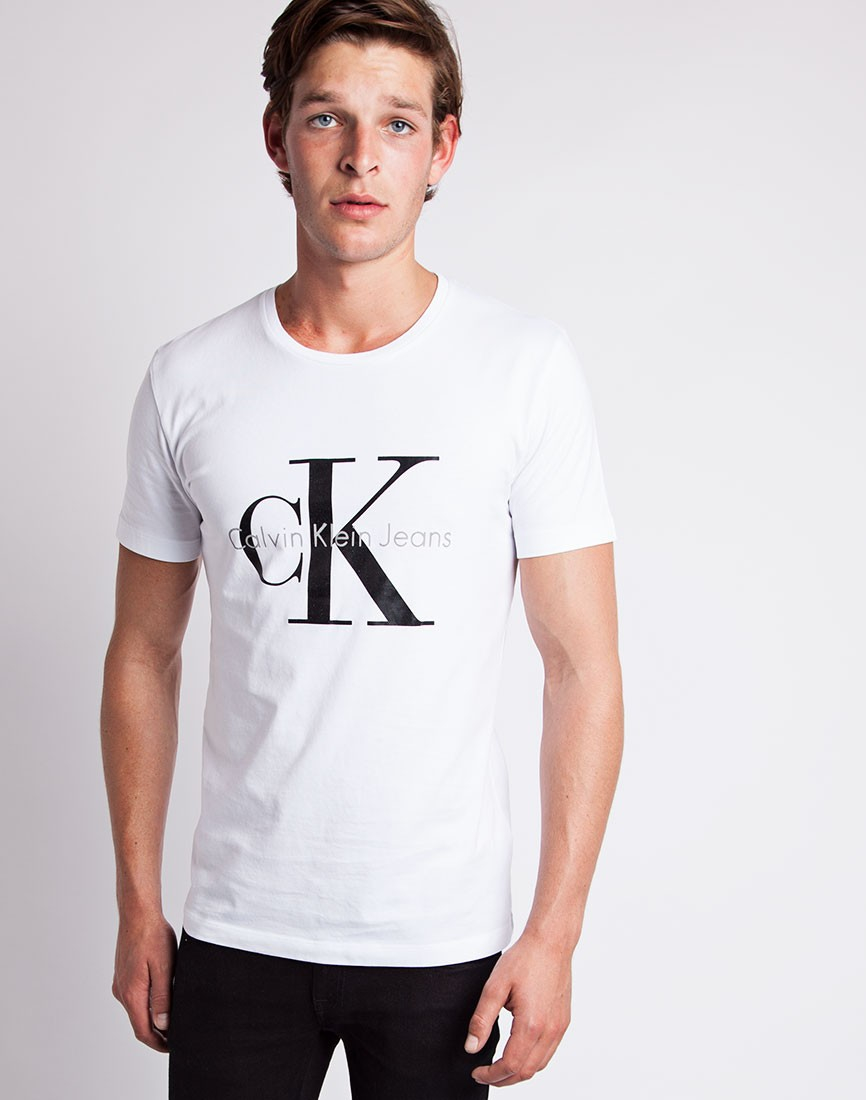 calvin klein jeans classic t shirt white in white for men. Black Bedroom Furniture Sets. Home Design Ideas