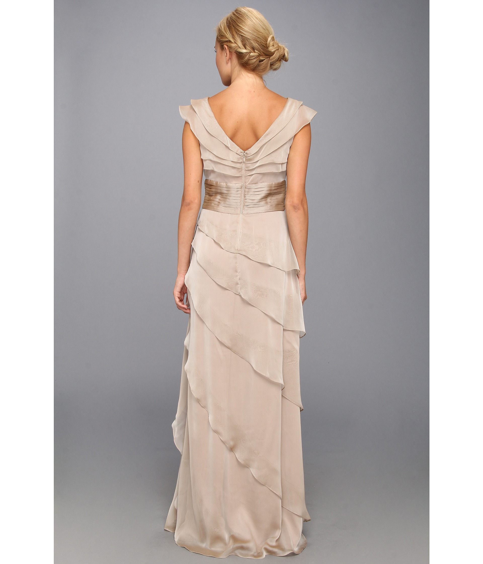 Lyst - Adrianna Papell Long Irri Tiered Petal Dress in Natural