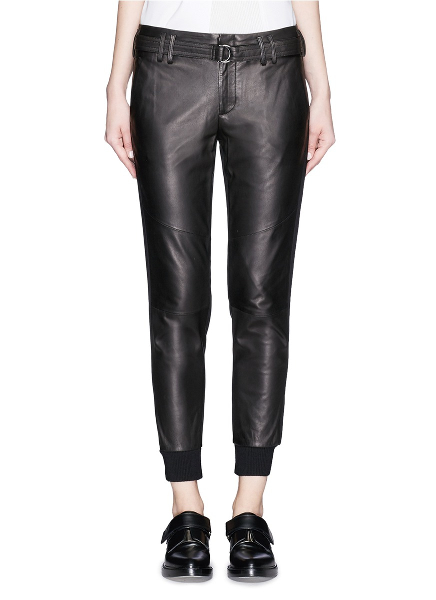 A high-style iteration of this sportswear classic, jitrois' leather jogging pants are the ultimate in athletic-luxe. Black leather, elastic waist and cuffs, side zip atrociouslf.gq: $1,