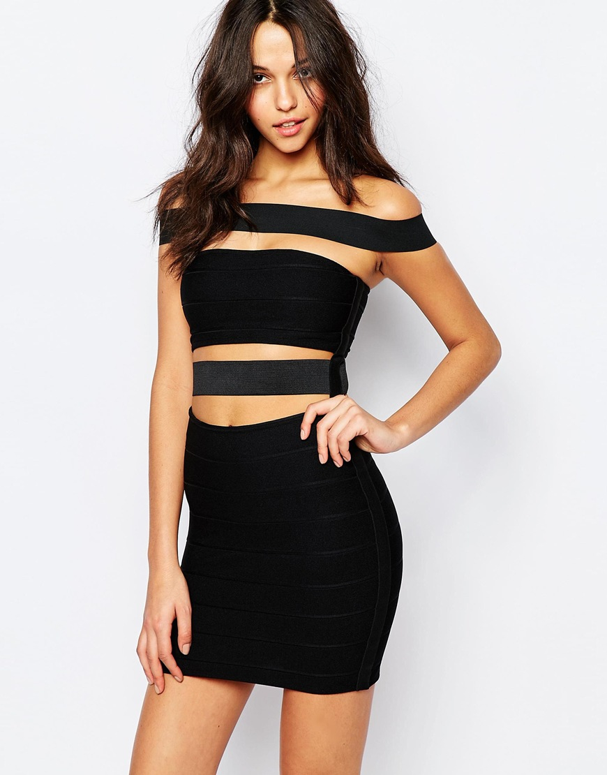 Jaded london Off Shoulder Bodycon Dress With Cut Out Detail in ...