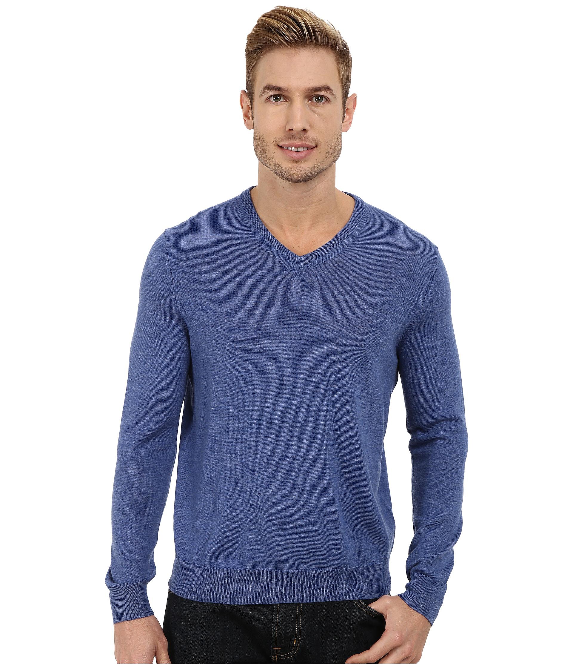calvin klein solid merino v neck sweater in blue for men. Black Bedroom Furniture Sets. Home Design Ideas