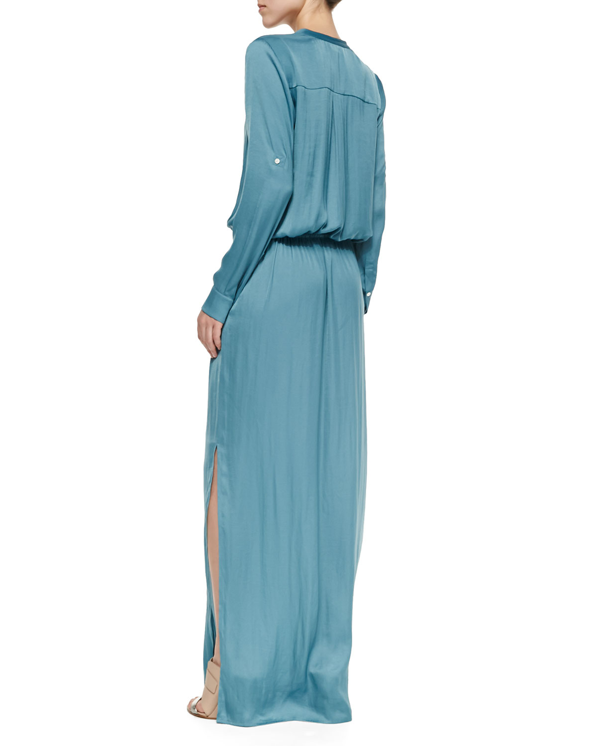 lyst vince long sleeve drawstring maxi dress in blue