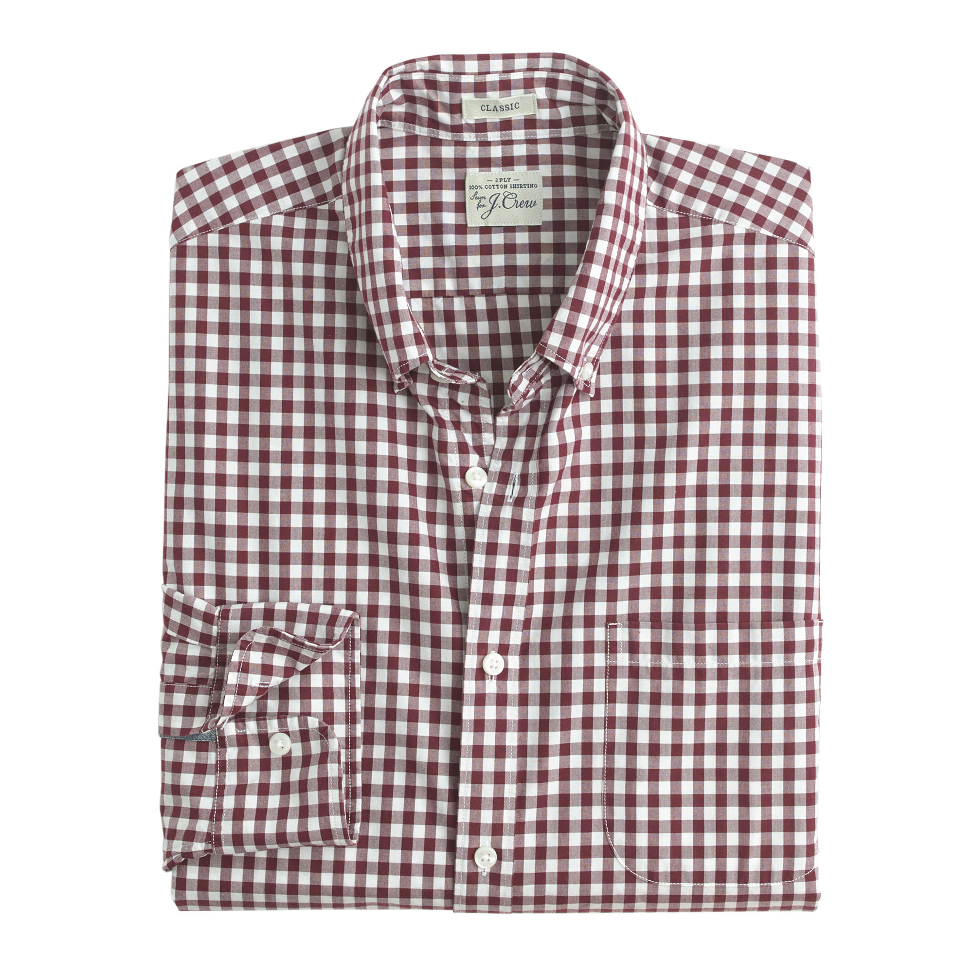 Secret wash shirt in burgundy gingham in brown for for Men s purple gingham shirt