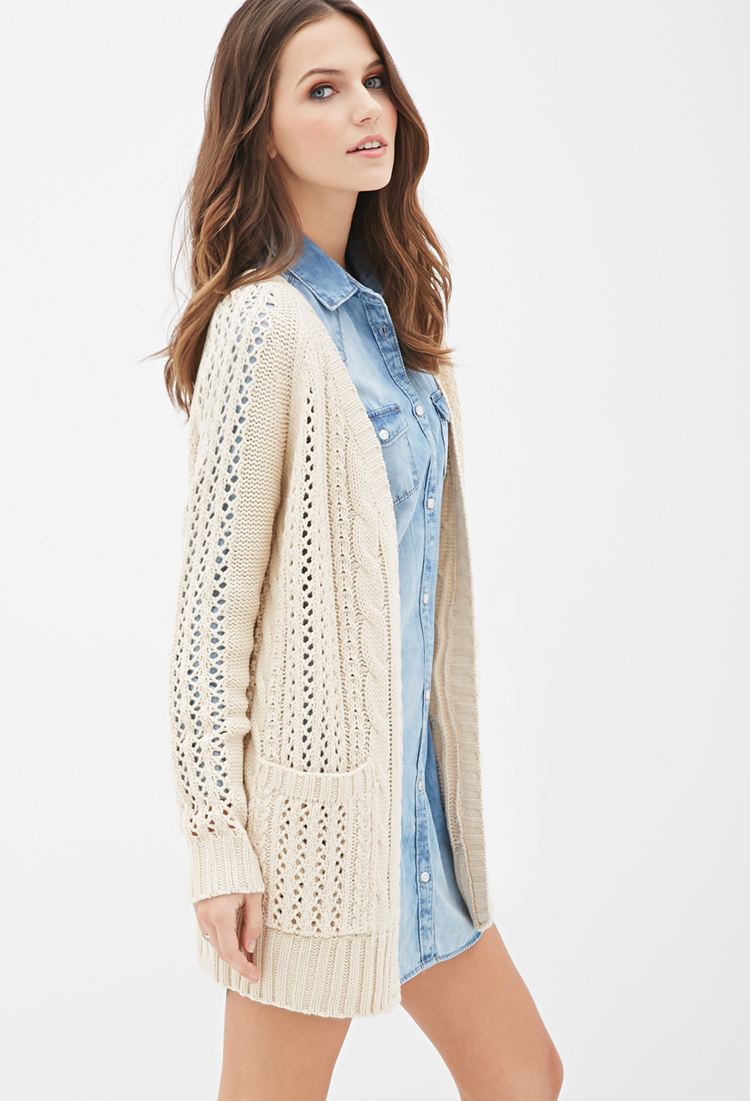 Forever 21 Cable Knit Cardigan in Natural | Lyst