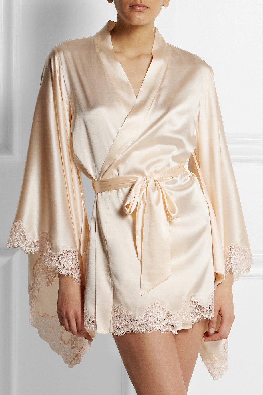 Lyst - Agent Provocateur Abbey Lacetrimmed Stretchsilk Satin Robe in ...