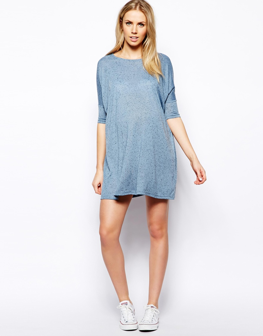 Asos tshirt dress in denim neppi in blue lyst gallery ombrellifo Image collections