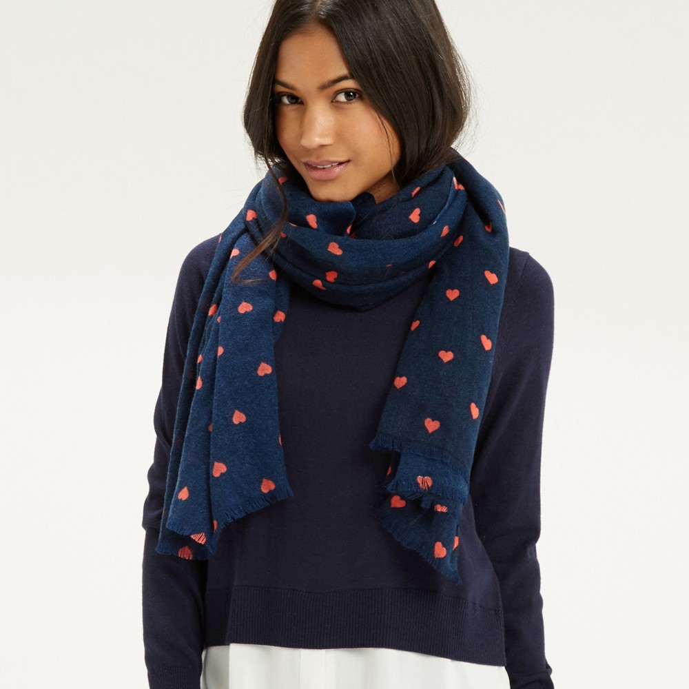 oasis print scarf in blue lyst