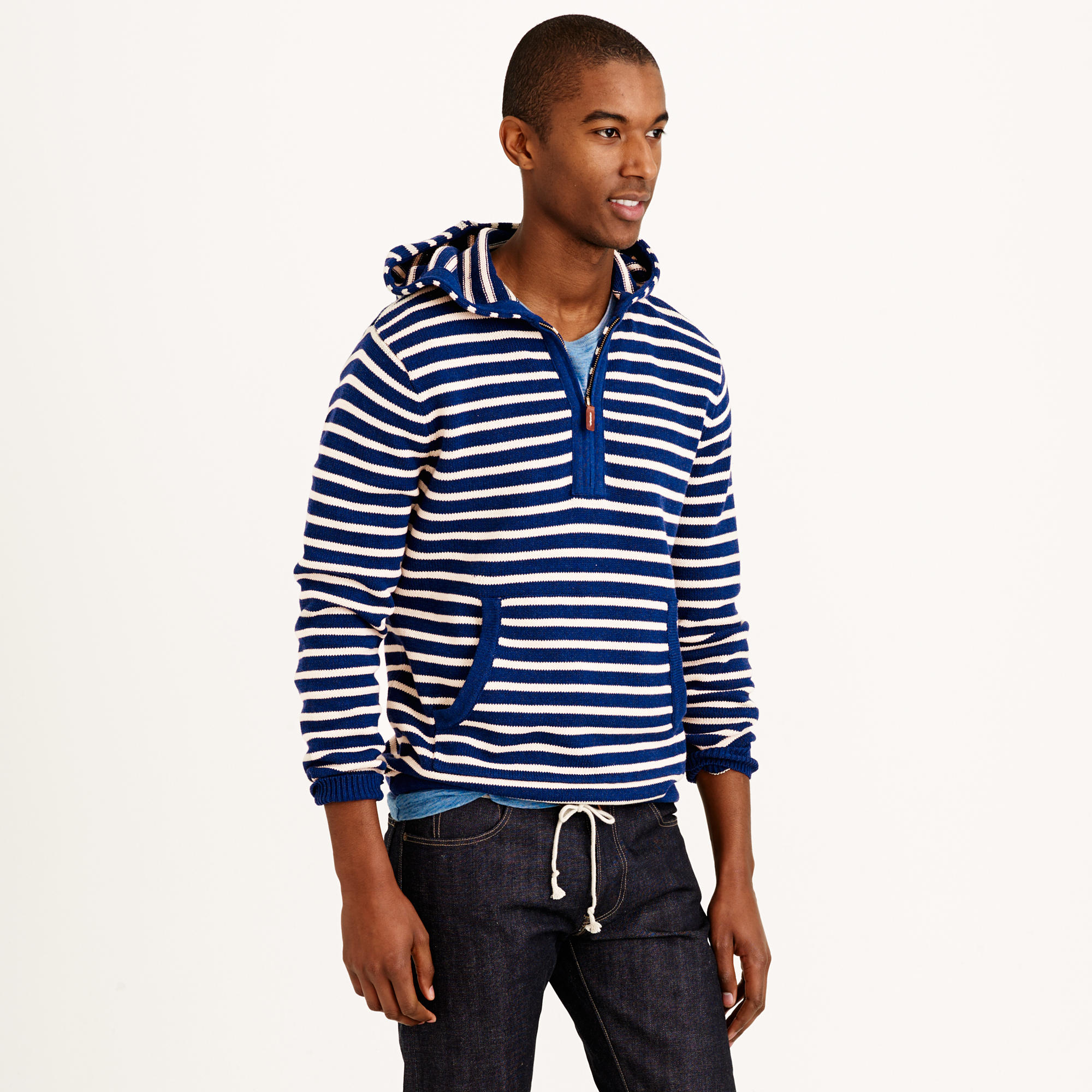 J.crew Striped Cotton Sweater Hoodie in Blue for Men | Lyst