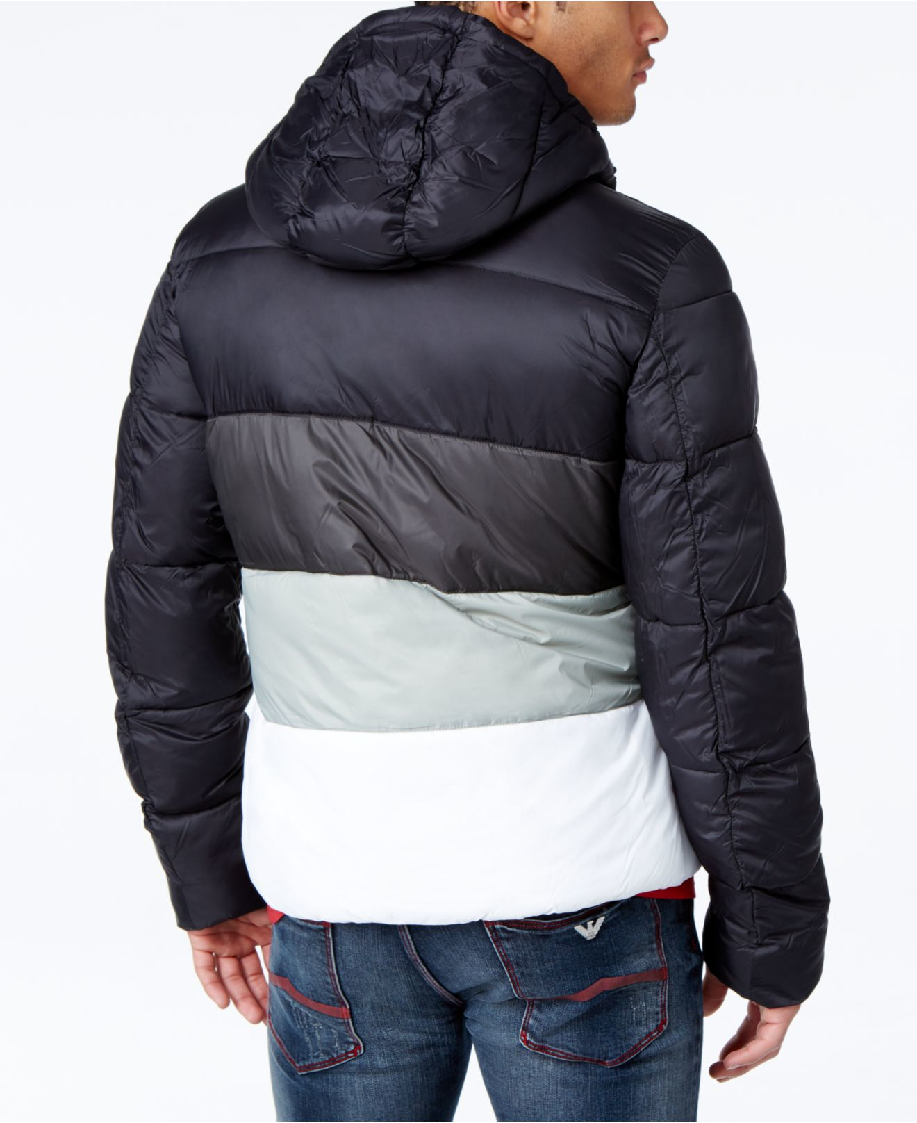 350d0025dd With Armani In Puffer Black Hood Jeans Lyst Coat Colorblock Men For BwHXSX