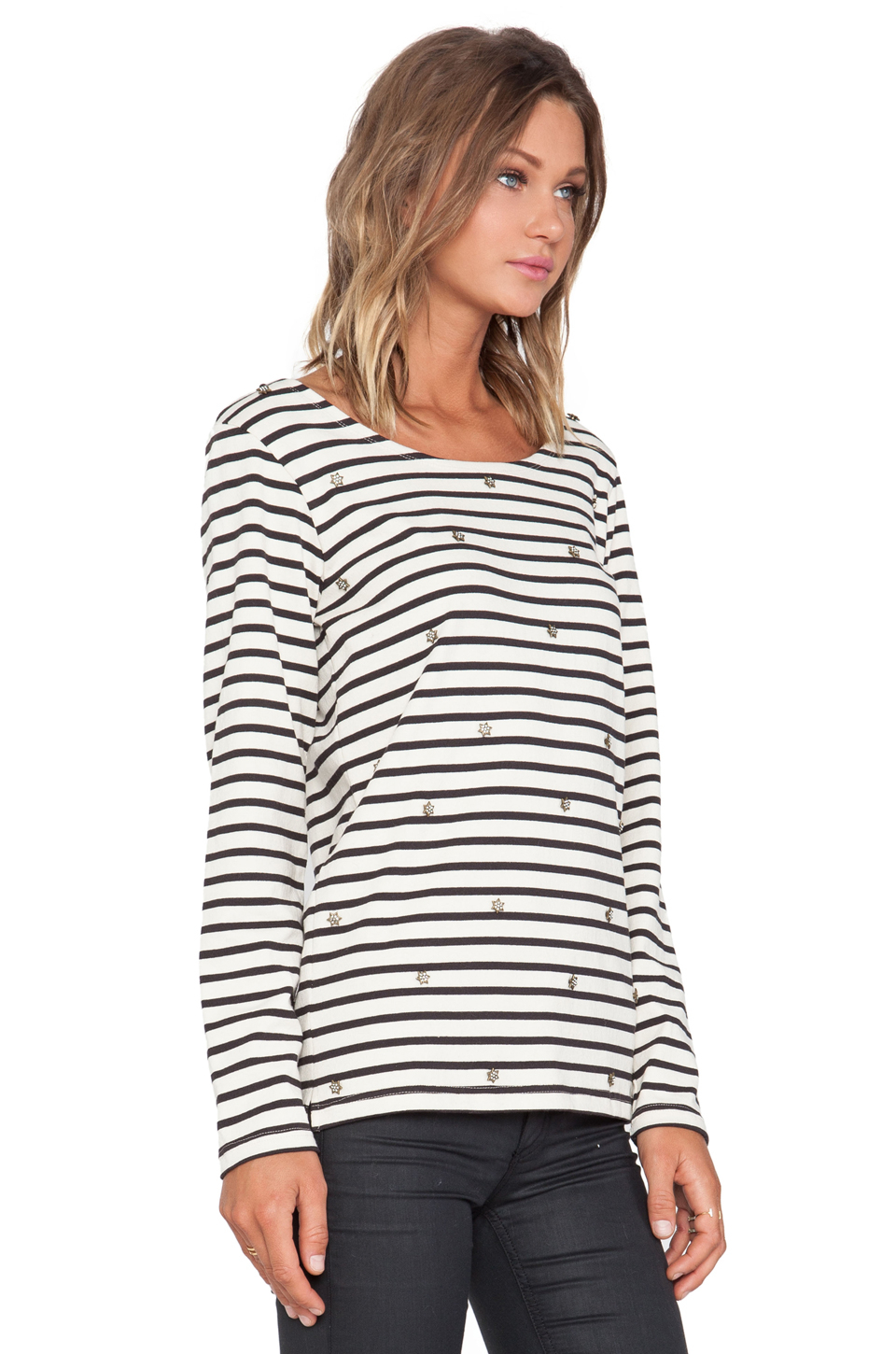Elbow Sleeve Breton Top, Dark Navy/White Ladies' elbow sleeve Breton top in dark navy (almost black) with white stripes from French label Armor Lux. Made from soft jersey combed cotton, heavy weight quality, turned back cuffs, round neckline, with a signature embroidered on left sleeve.