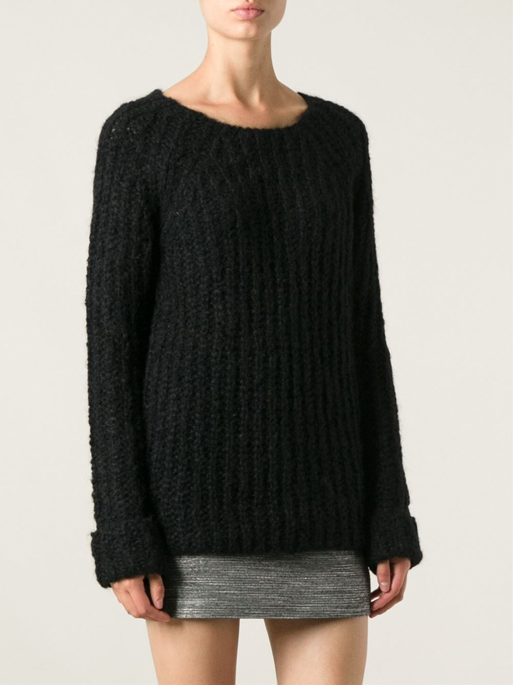 Roberto collina Chunky Knit Sweater in Black | Lyst