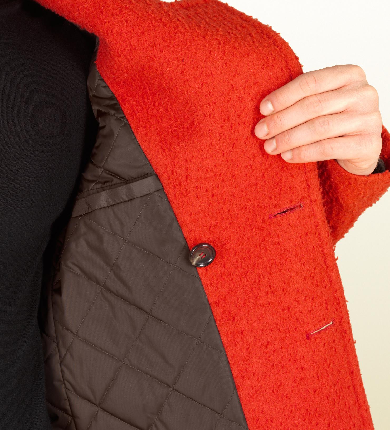 Lyst Gucci Orange Casentino Wool Peacoat In Orange For Men