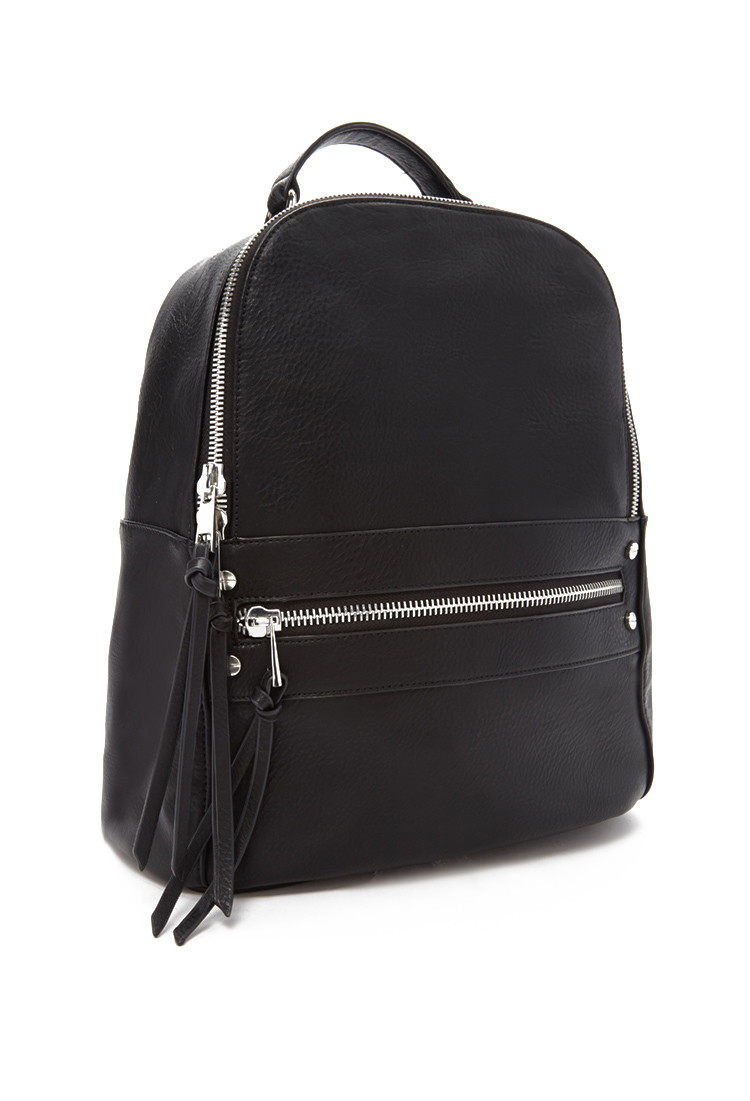 Lyst - Forever 21 Faux Leather Backpack in Black 9528ecb05ade7