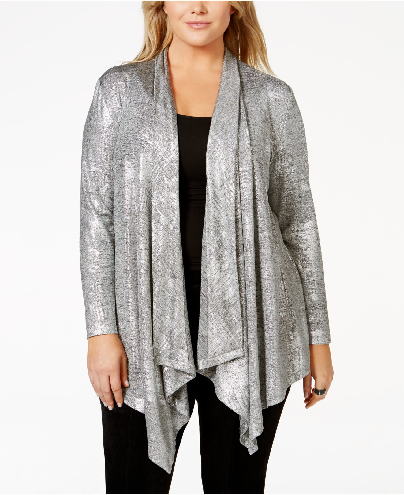 Calvin klein Plus Size Metallic Foil-finished Draped Waterfall ...