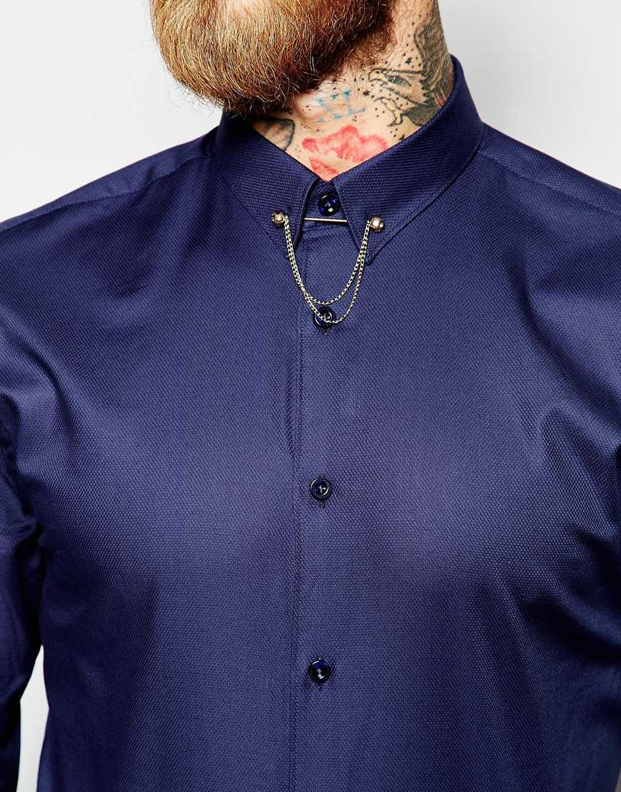 Noose And Monkey Shirt With Gold Monkey Skull Collar Bar