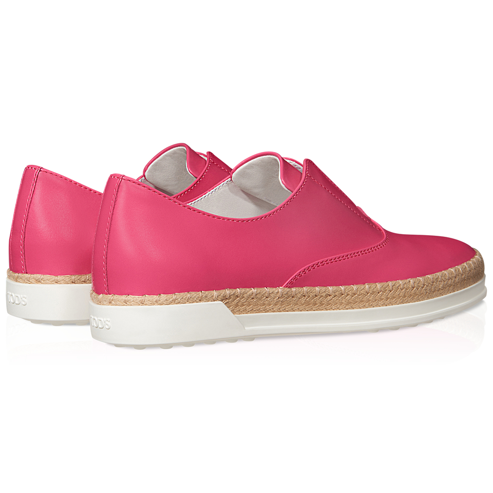 tod s leather slip on shoes in pink lyst