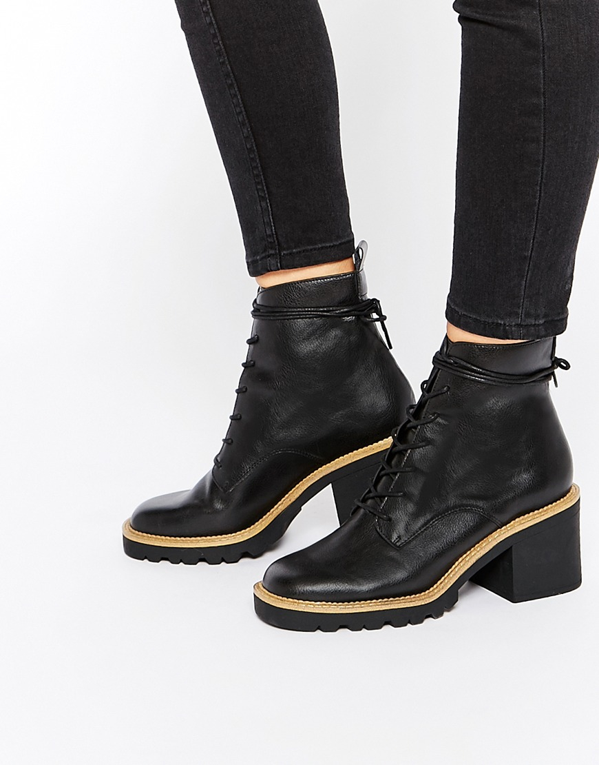 Asos Repro Lace Up Ankle Boots in Black | Lyst