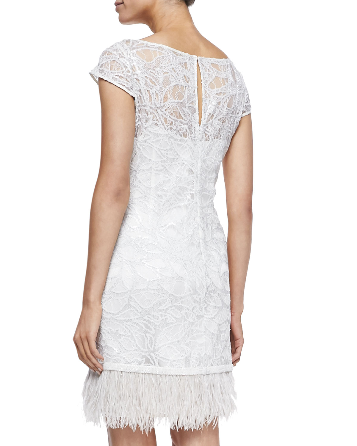 76fdc021df7 Lyst - Kay Unger Lace Overlay Cocktail Dress W  Feather Hem in White