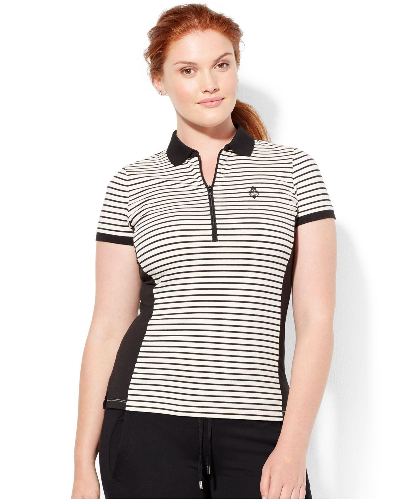 b52e5683892954 ... aliexpress lyst lauren by ralph lauren plus size striped half zip polo  shirt da699 2fef0