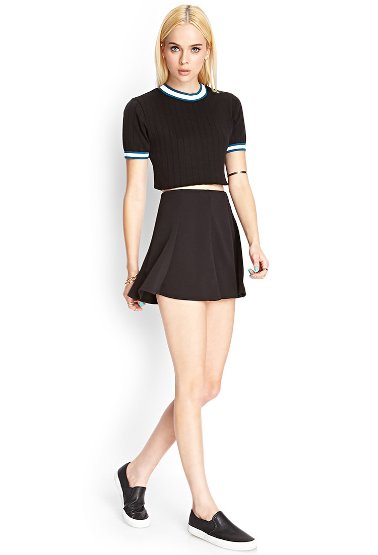 Forever 21 Cropped Short-sleeve Sweater in Black   Lyst