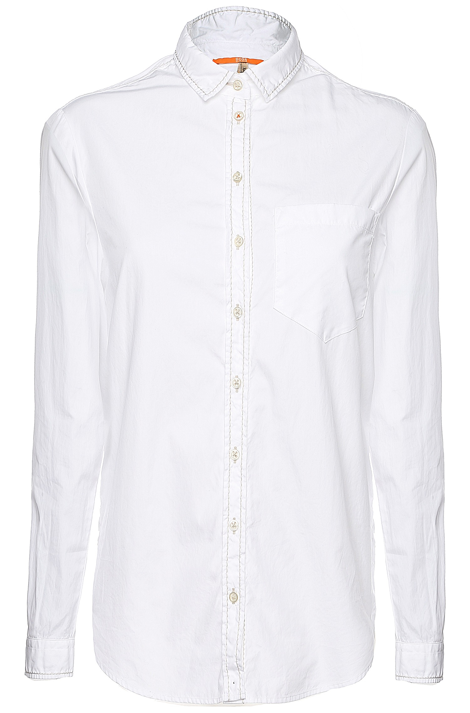 lyst boss orange cotton blouse with stitching 39 emai 2 39 in white. Black Bedroom Furniture Sets. Home Design Ideas