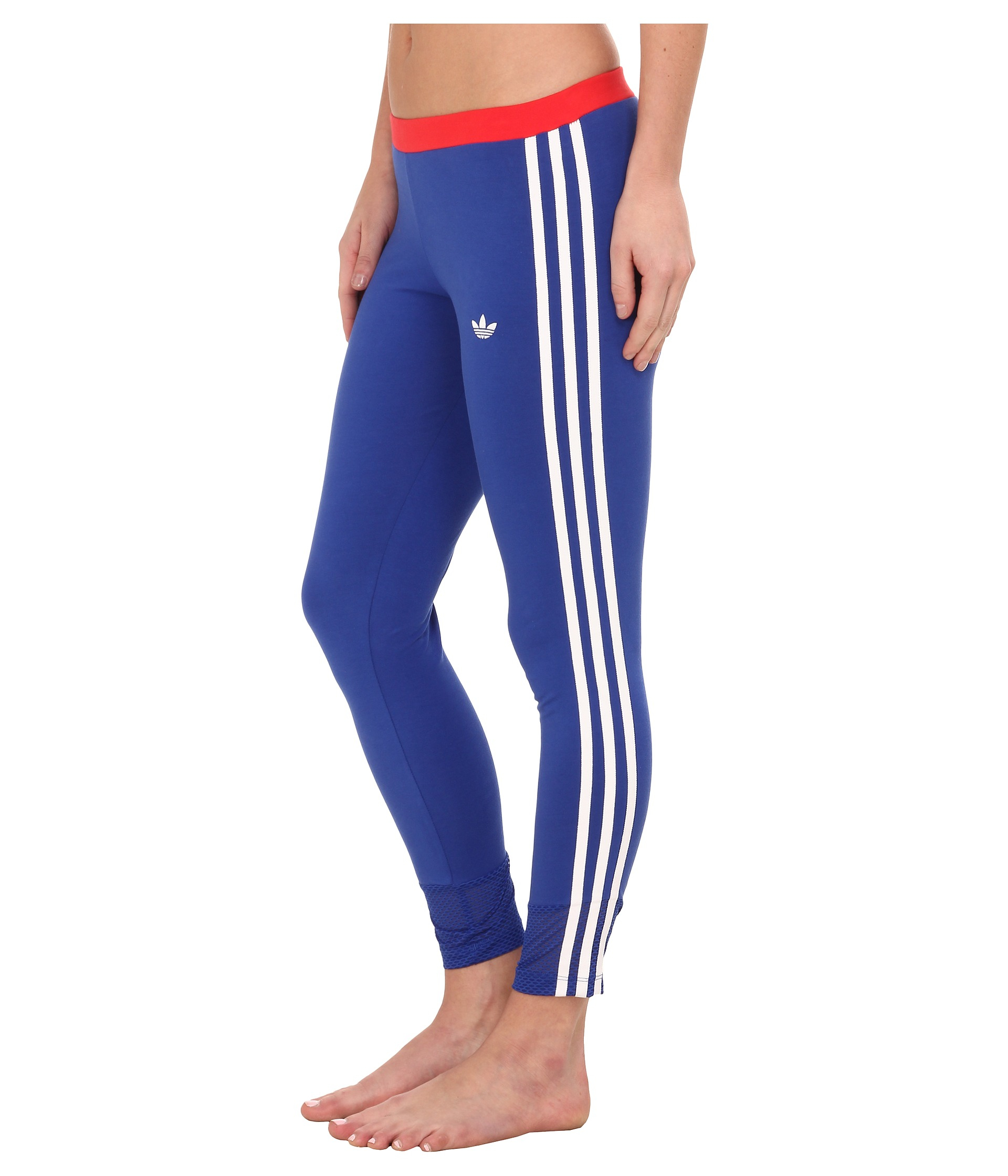 Adidas originals La Color Block 3-stipes Leggings in Blue | Lyst