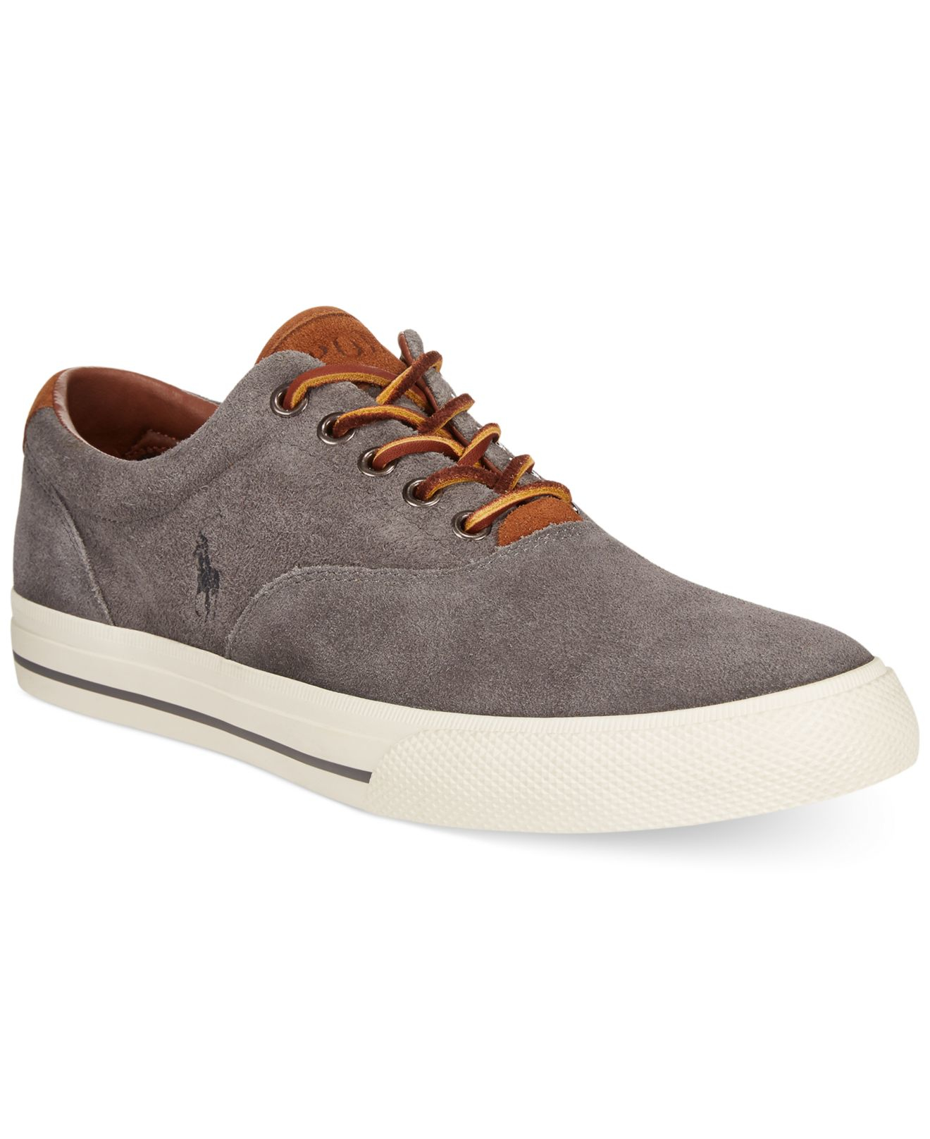 polo ralph lauren vaughn suede sneakers in gray for men charcoal grey. Black Bedroom Furniture Sets. Home Design Ideas