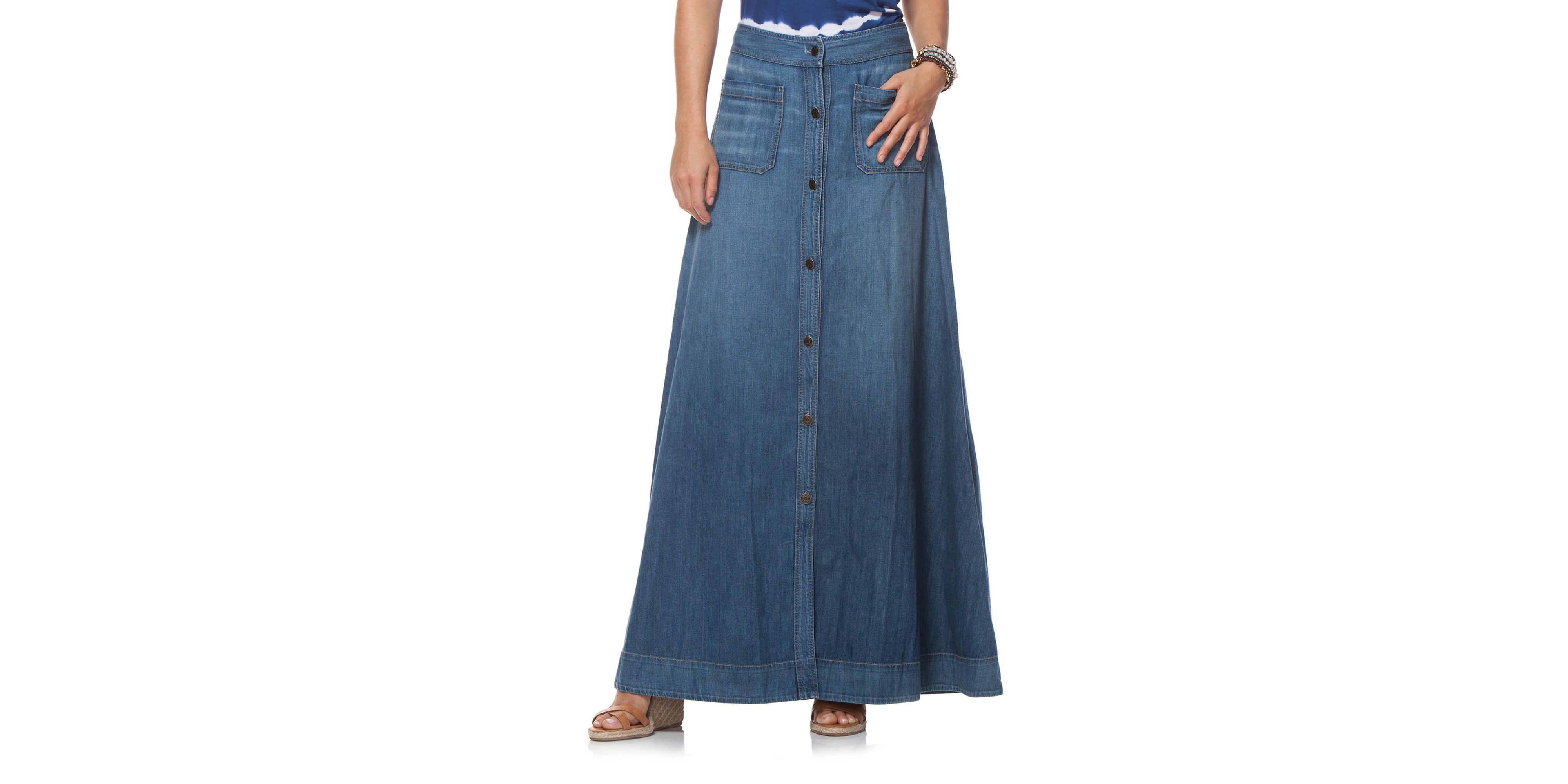 chaps floor length denim skirt in blue lyst