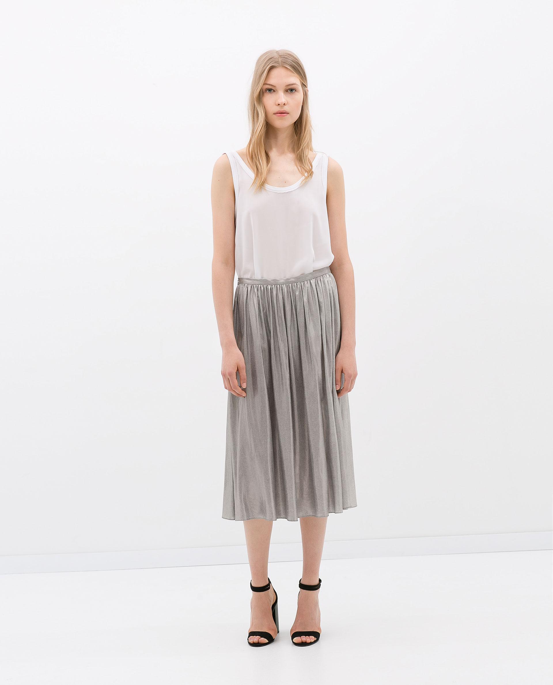 Zara Voluminous Midi Skirt in Metallic | Lyst