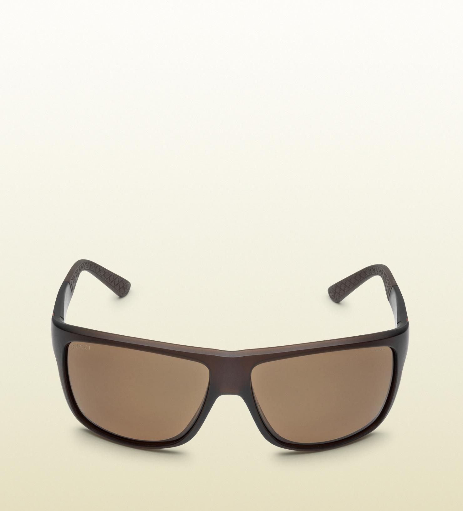 5c1a8c41baa Lyst - Gucci Mens Sporty Matt Brown Sunglasses in Brown for Men