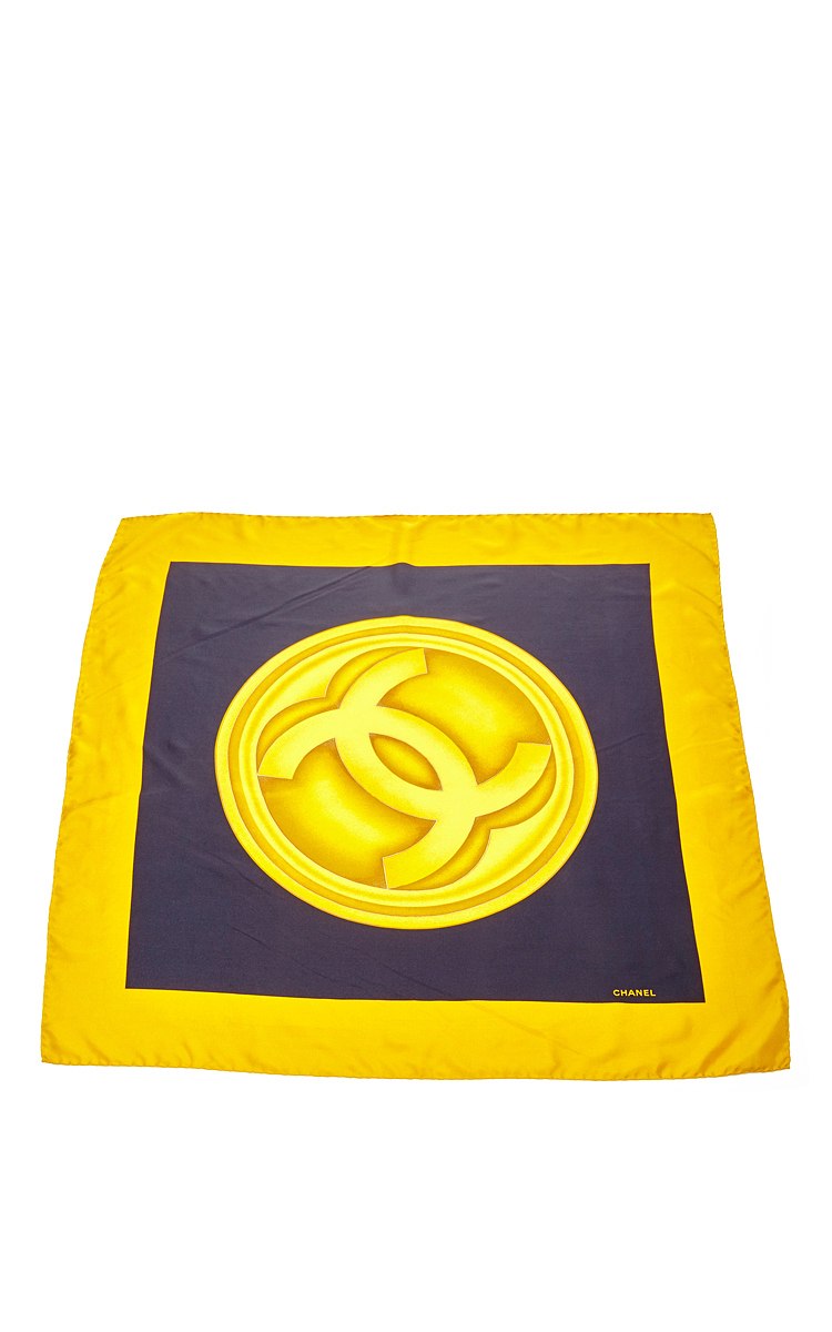 what goes around comes around chanel yellow navy cc silk. Black Bedroom Furniture Sets. Home Design Ideas