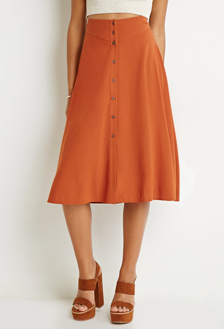 forever 21 button front a line skirt in orange