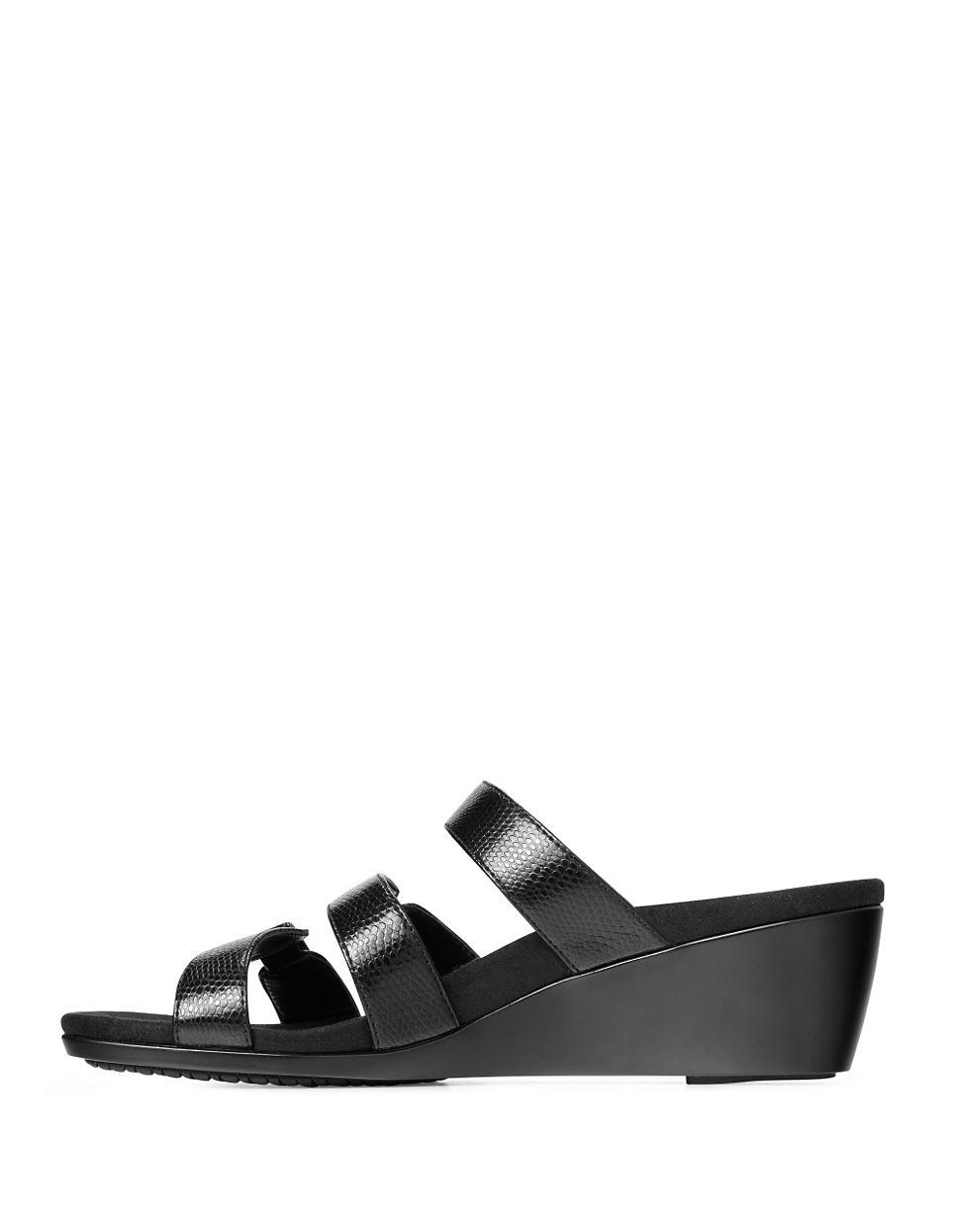 Vionic Dwyn Wedge Slide Sandals In Black Lyst