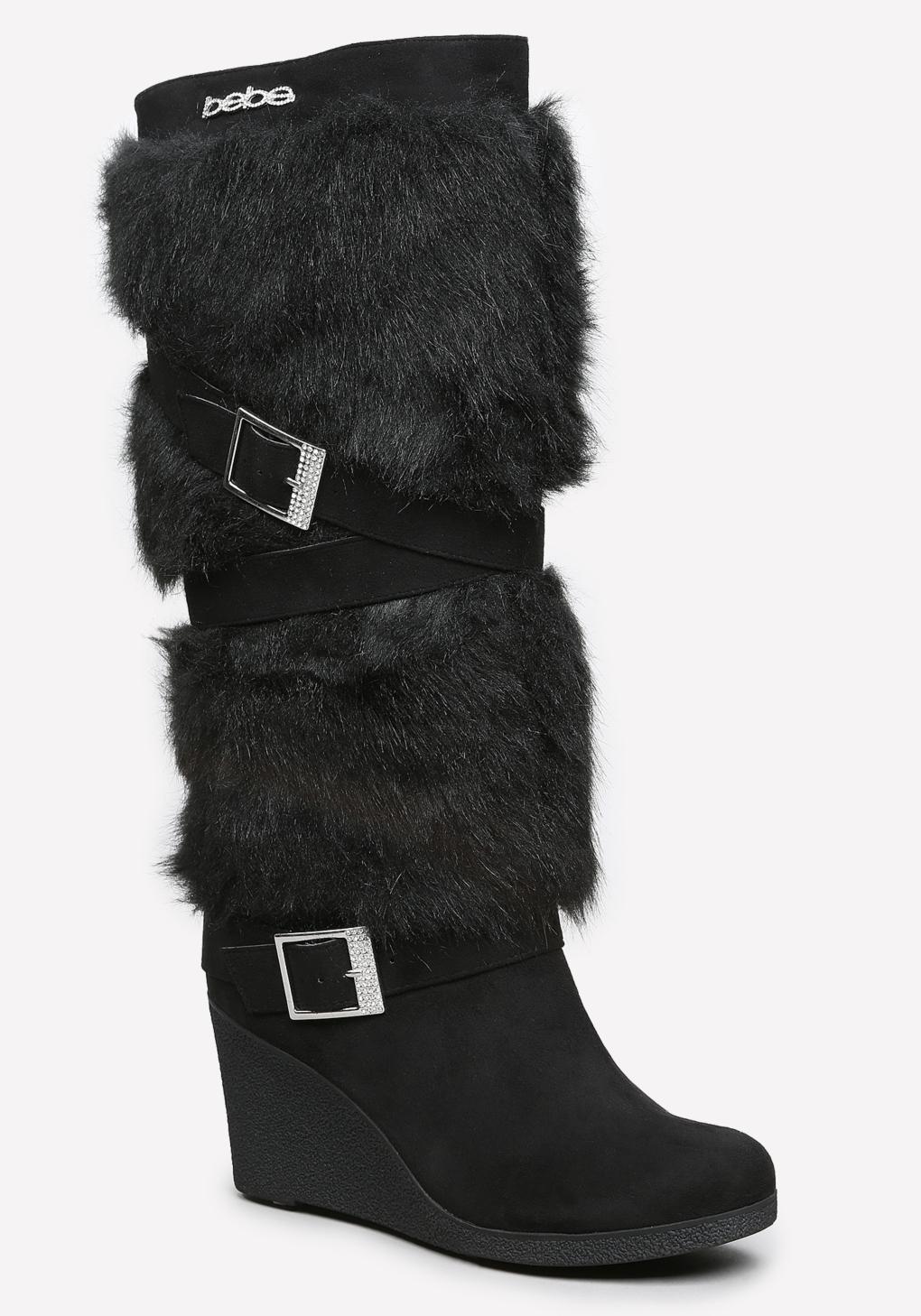 Lyst Bebe Geenna Faux Fur Boots In Black