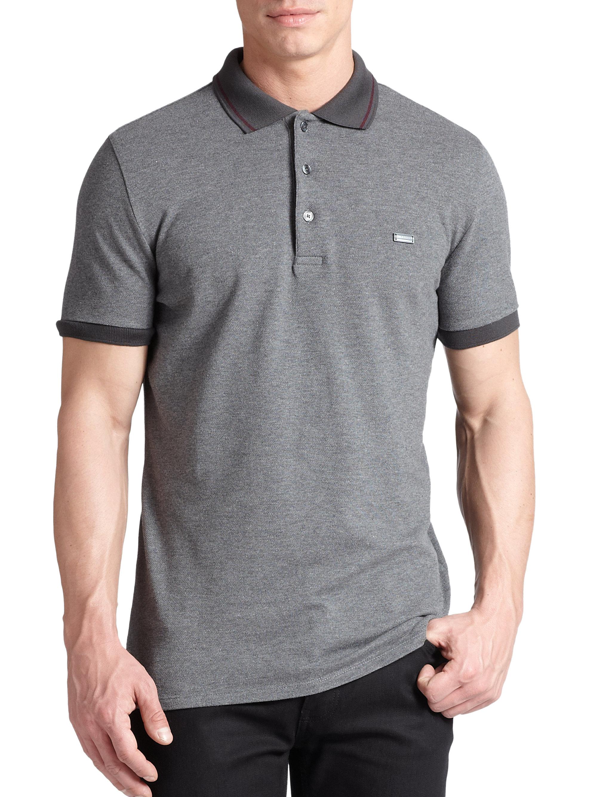 Burberry London Cotton Polo Shirt Grey In Gray For Men