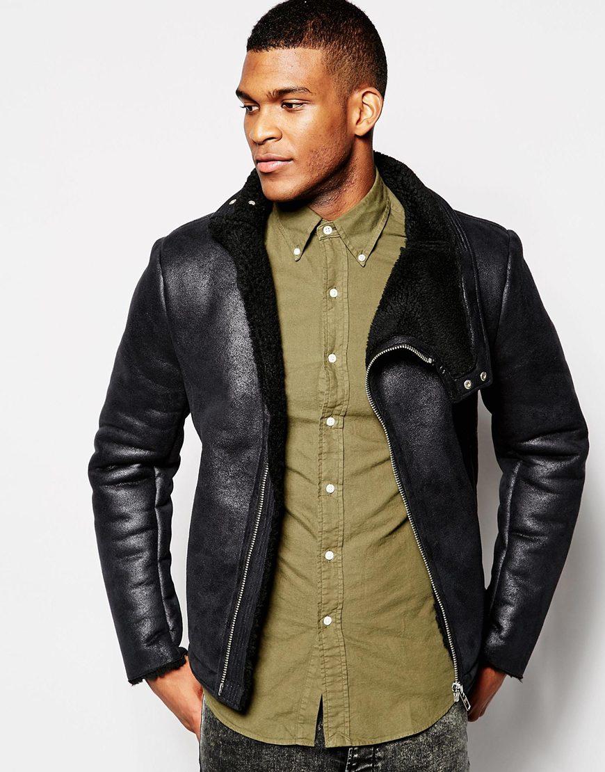 Asos Faux Shearling Jacket In Black in Black for Men | Lyst
