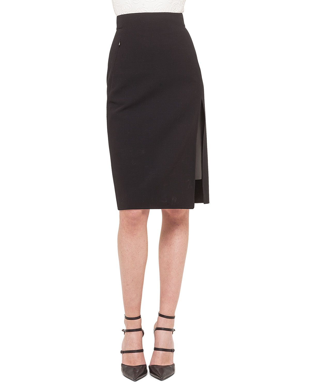 akris leather inset side slit pencil skirt in black lyst