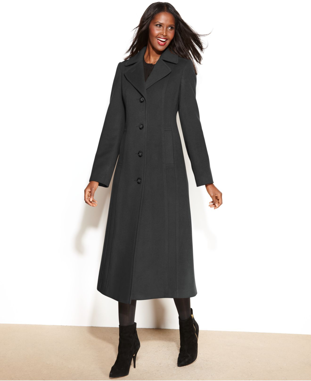 Anne klein Wool-Cashmere-Blend Maxi Walker Coat in Gray | Lyst