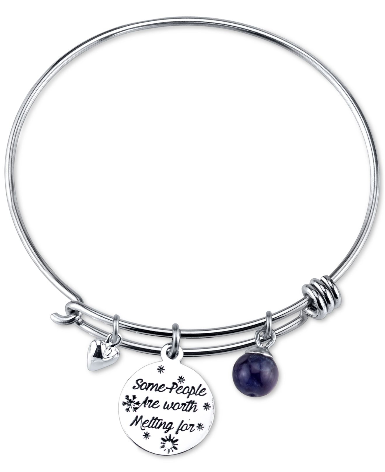 Disney Frozen Olaf Charm Bangle Bracelet In Stainless Steel With