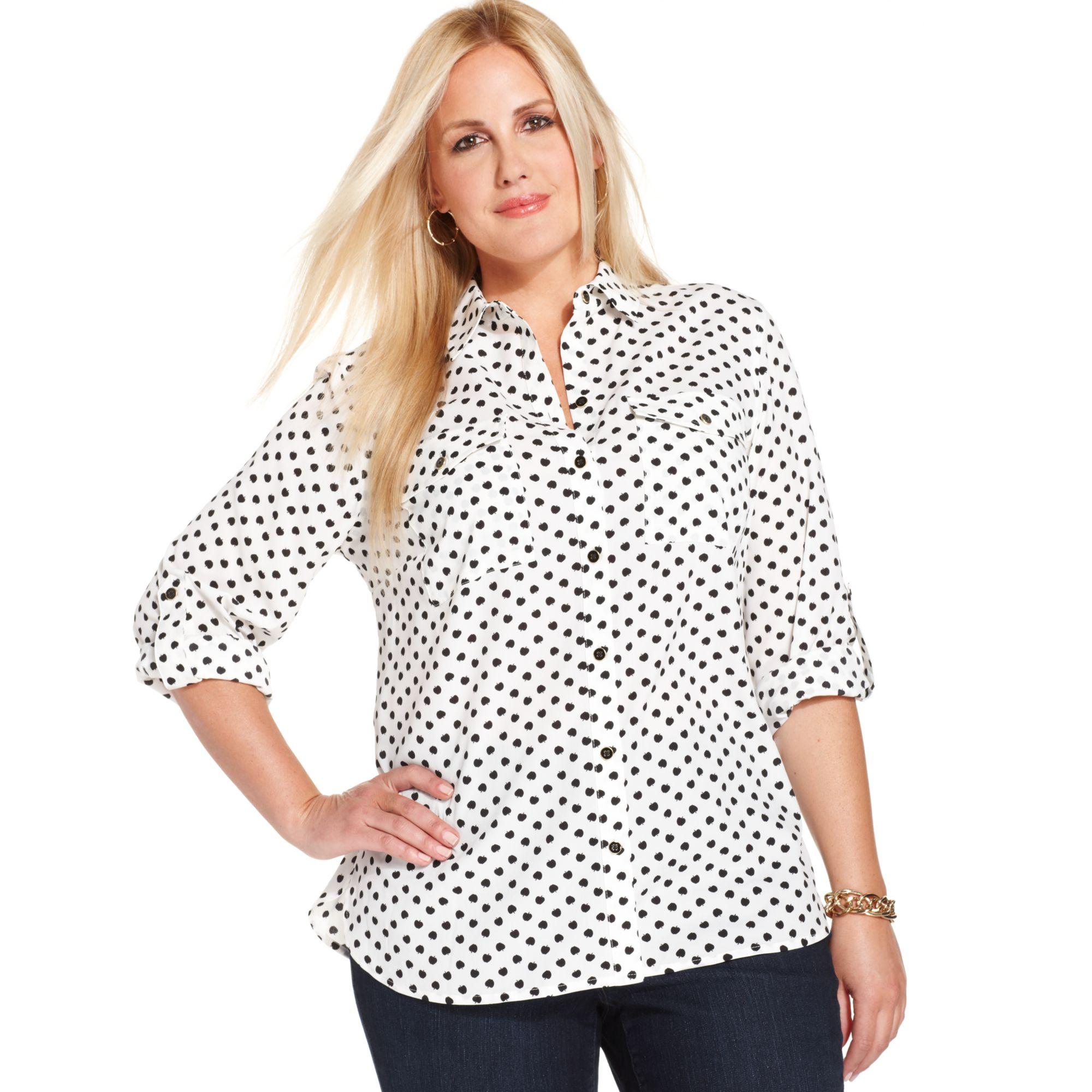 0f3ce615d2995 Lyst - Jones New York Signature Plus Size Appleprint Utility Shirt ...