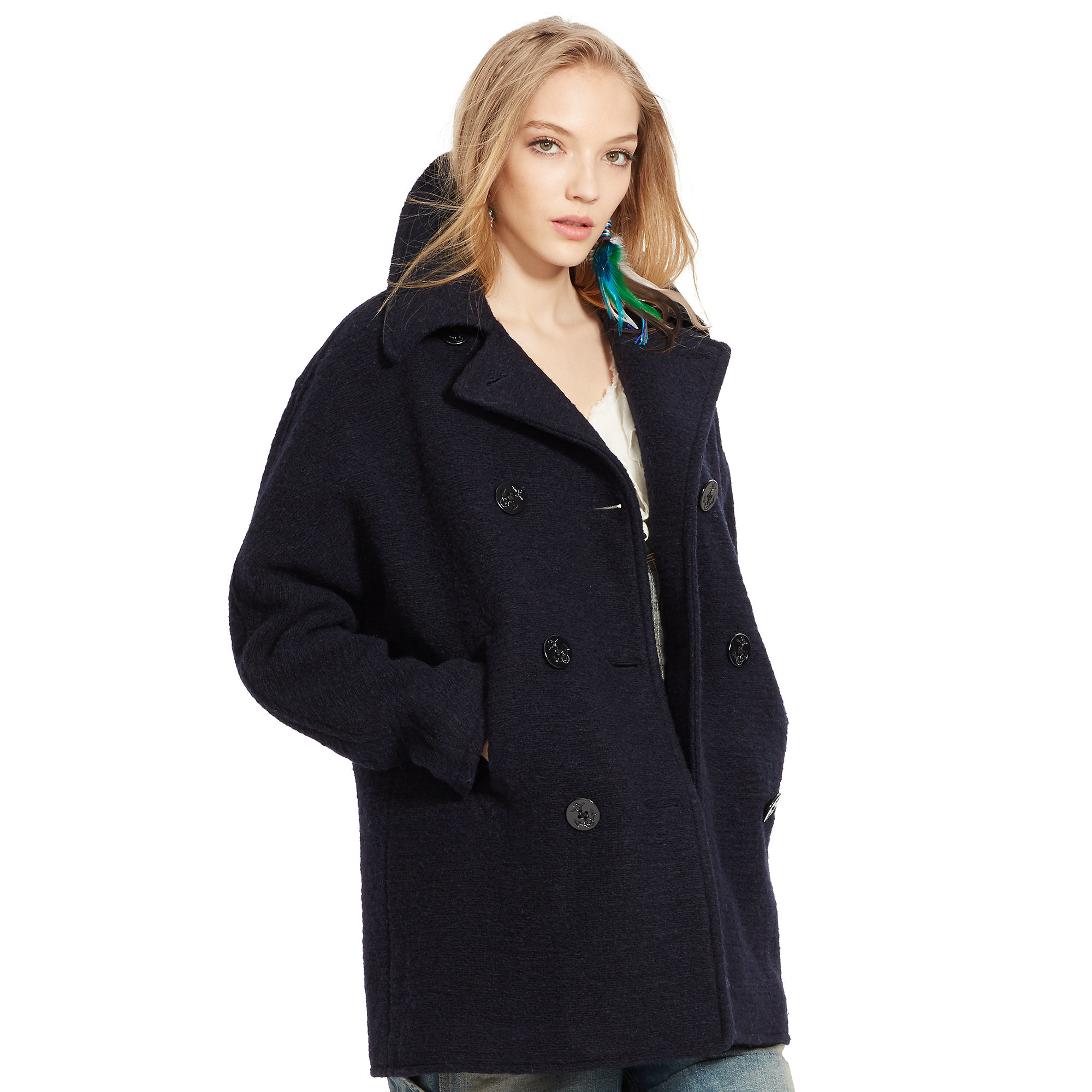 Denim & supply ralph lauren Wool-blend Pea Coat in Blue | Lyst