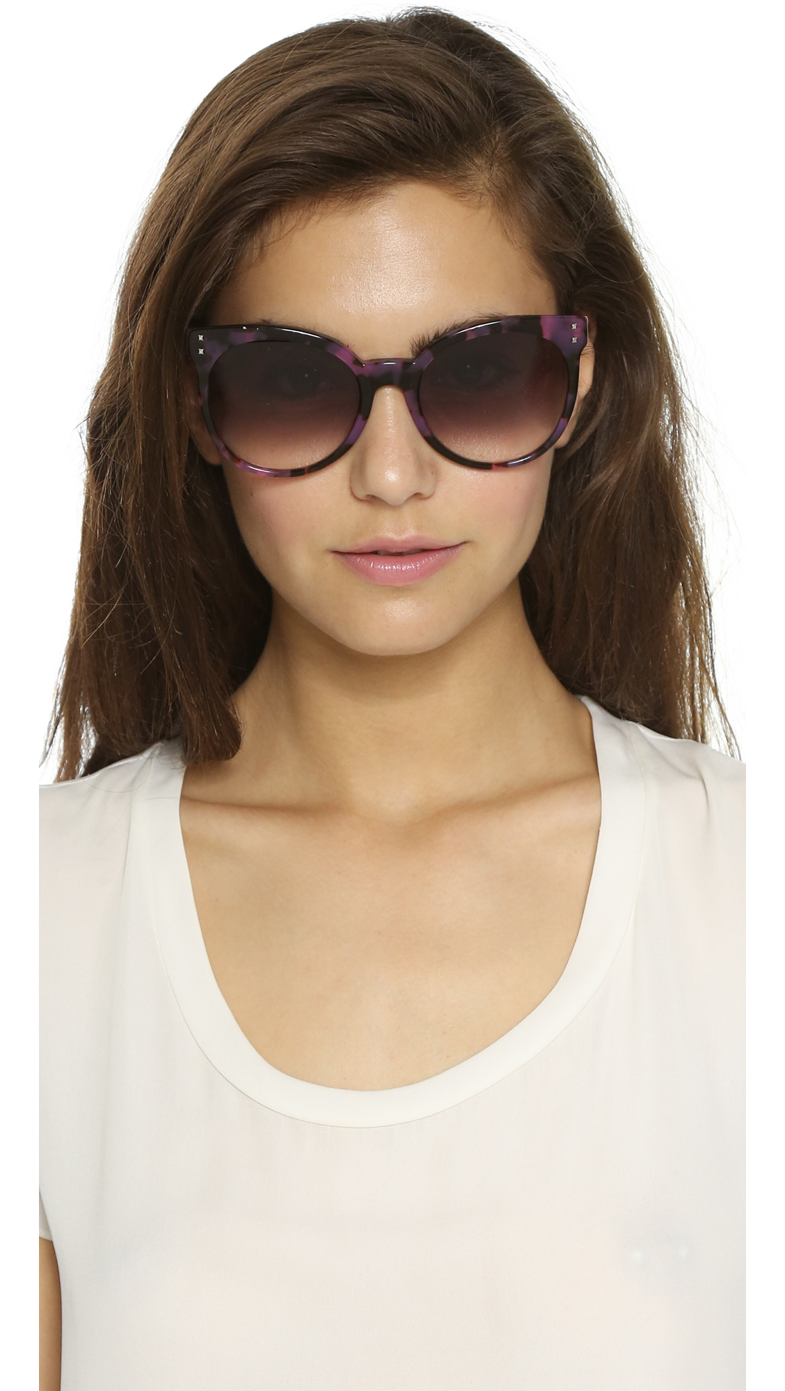 e51b5c529656 Fendi Block Stripe Round Sunglasses - Havana Biege Aqua/grey in ...
