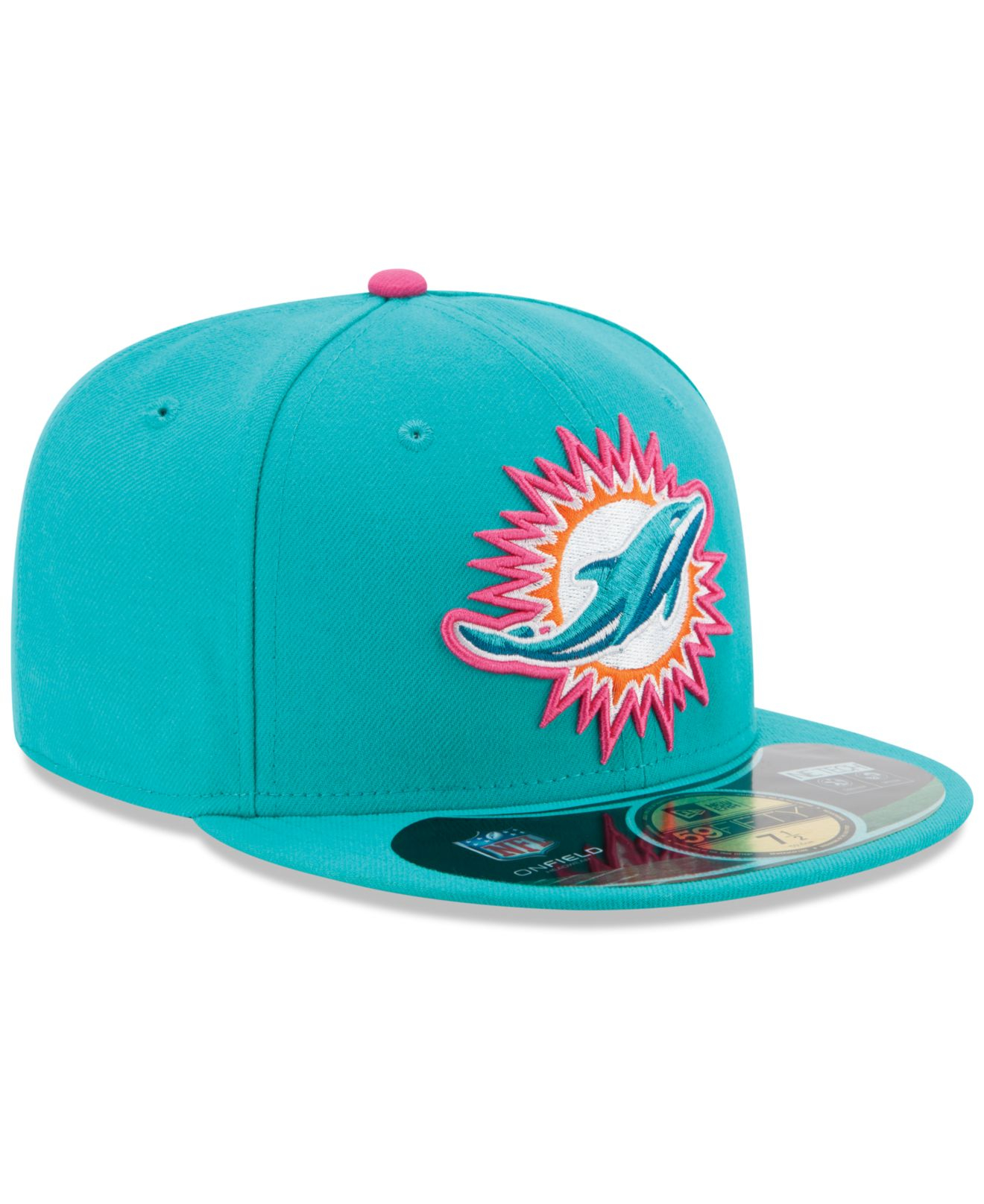 newest fac2d 33d84 KTZ Miami Dolphins Breast Cancer Awareness 59Fifty Cap in Blue for ...