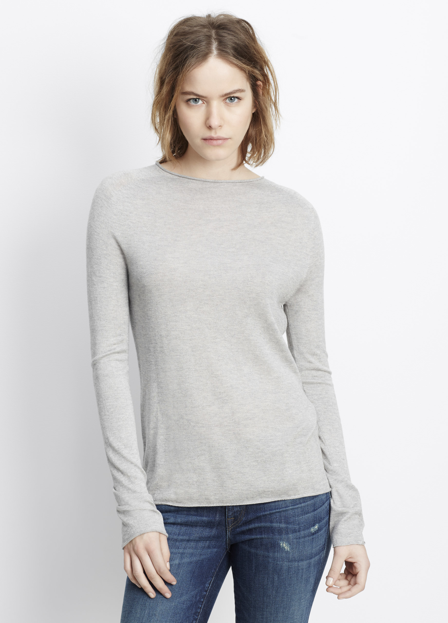 Vince Silk Cashmere Rolled Seam Funnel Neck Sweater in Gray | Lyst