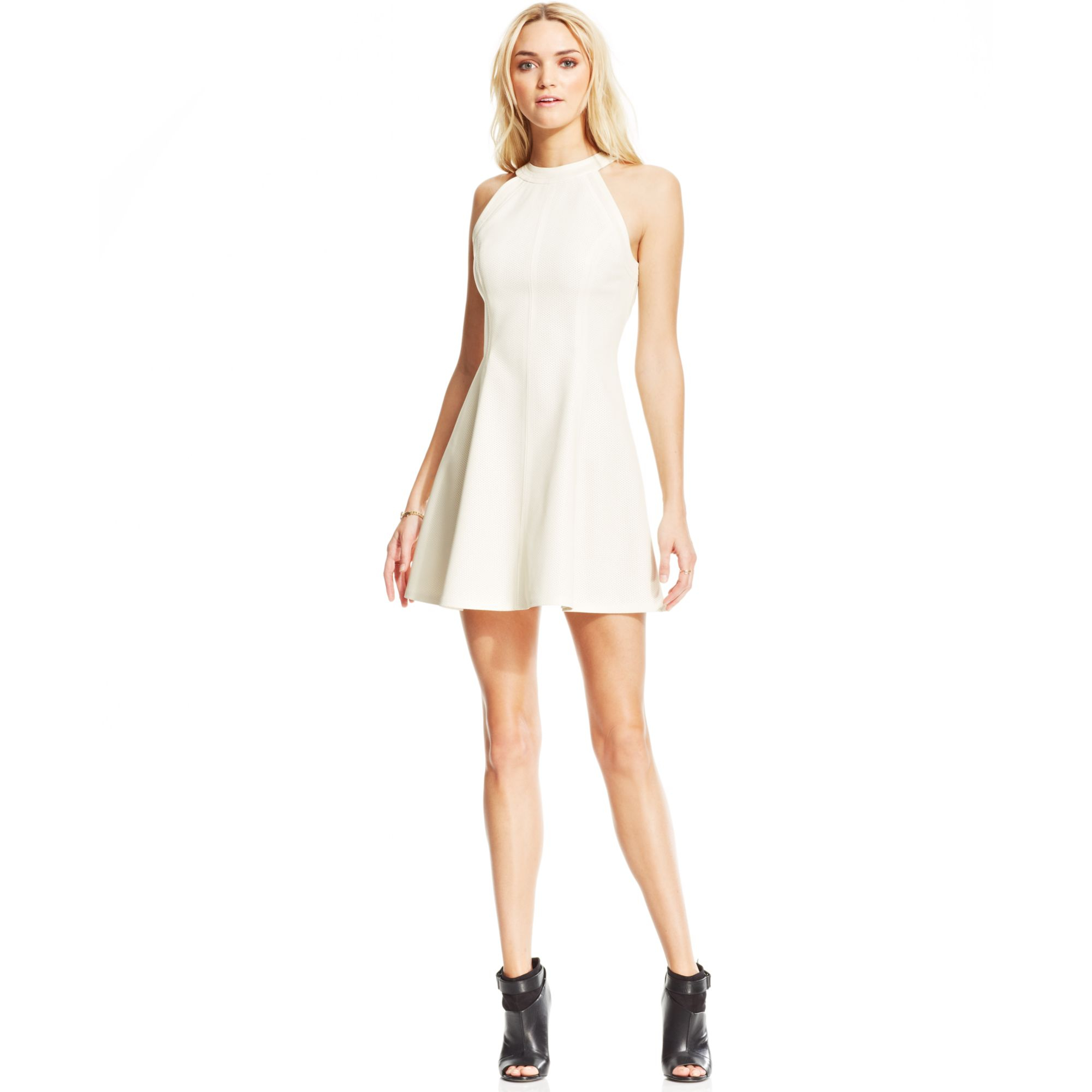 b4d53e698 Lyst - RACHEL Rachel Roy Perforated Fauxleather Dress in White